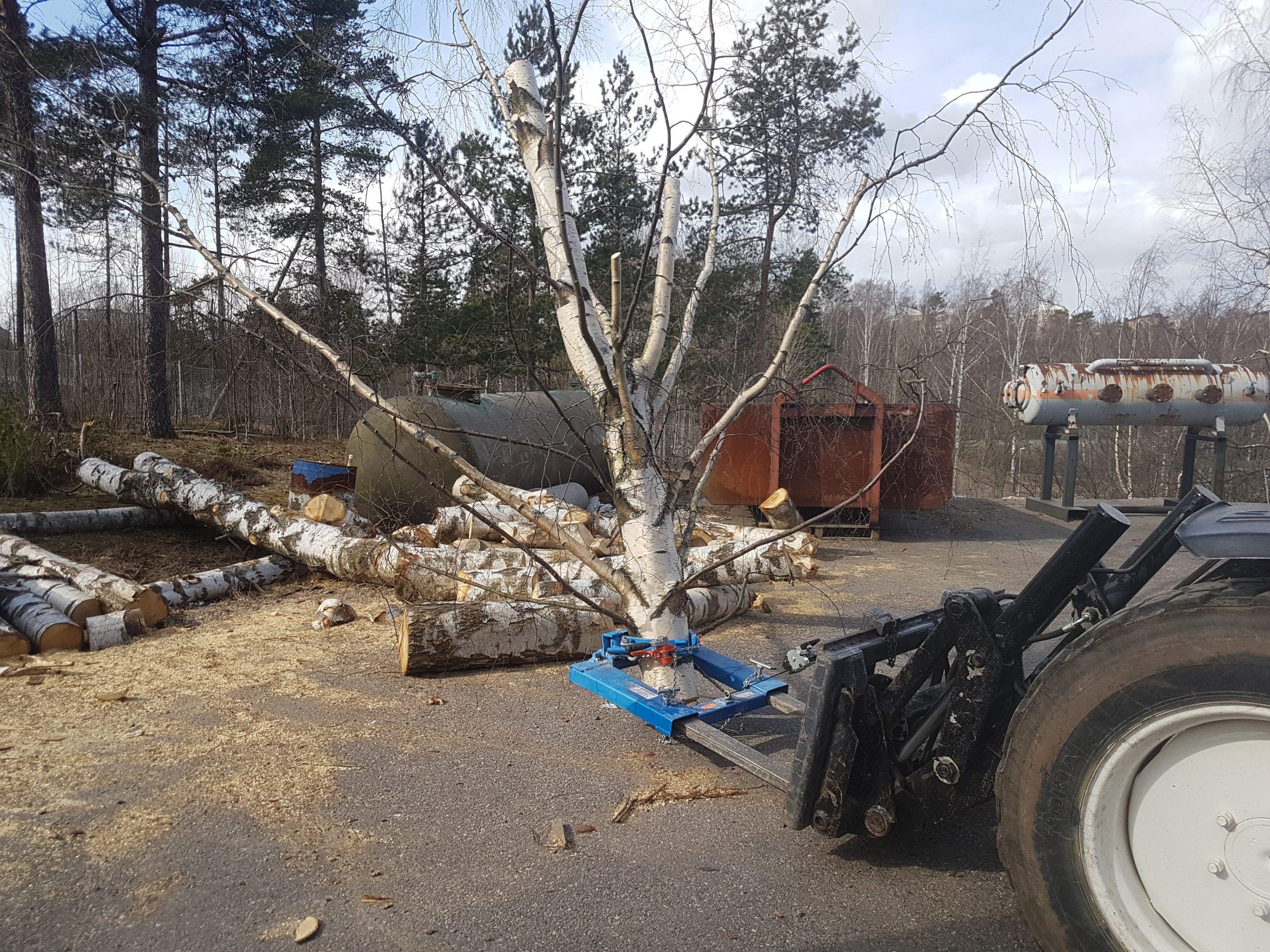 Puunkaatolaite, jolla siirretään katkaistua puunrunkoa.